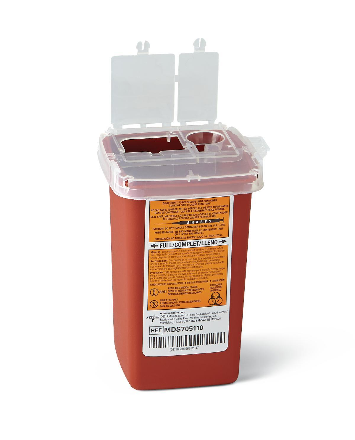 Nursing Supplies & Patient Care Sharps Containers - Mds705110 - Container Sharps 1 Qt. Red Phleb. MDS705110